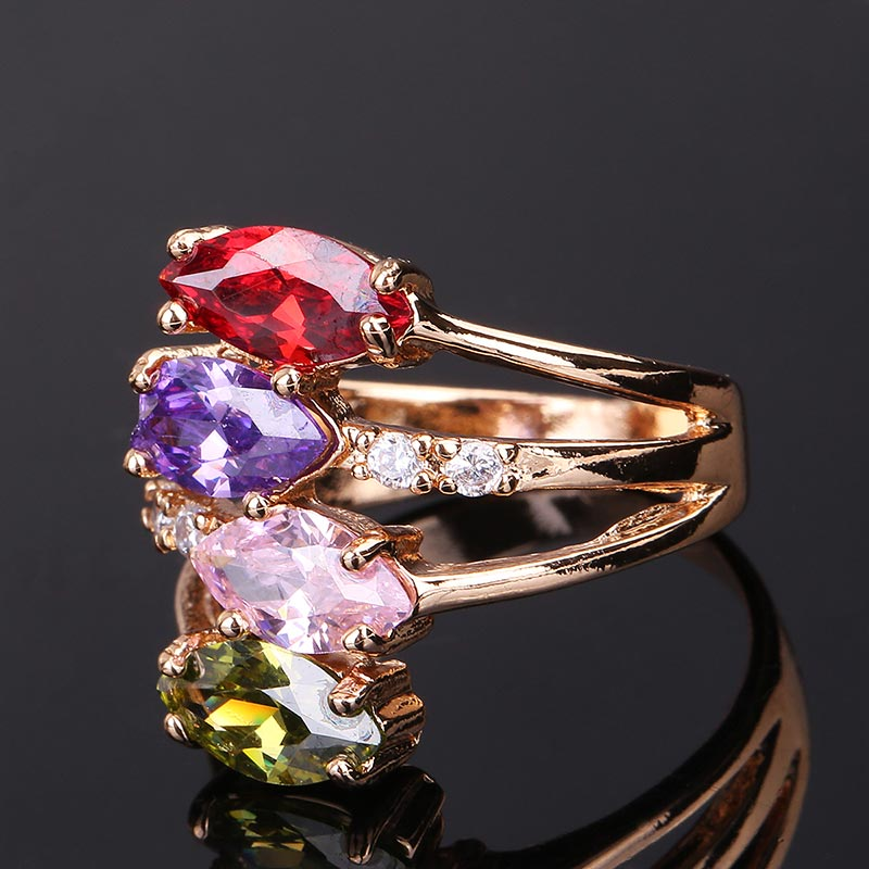 CWEEL Weeding Engagement Rings For Women Austrian Imitation Crystal Zircon Ring Rose Gold Color India Dubai Big Water Drop Rings (37)