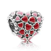 Good Quality Love Valentine S Day Theme Gift Red Enamel 925 Real Silver Heart Charm Fit