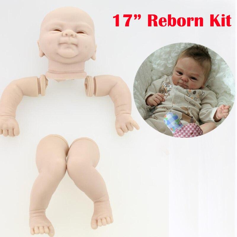 17 pouces silicone souple reborn bébé poupée kits souriant visage accessoires réaliste poupée non peinte poupées pièces jambes bras et tête