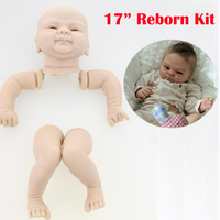 17inch Soft silicone reborn baby doll kits smiling face accessories lifelike doll unpainted dolls parts legs arms and head