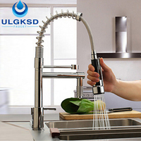 Ulgksd Modern Solid Brass Chrome Polish Spring Kitchen Faucet Mixer Tap Faucet Single Handle Hole