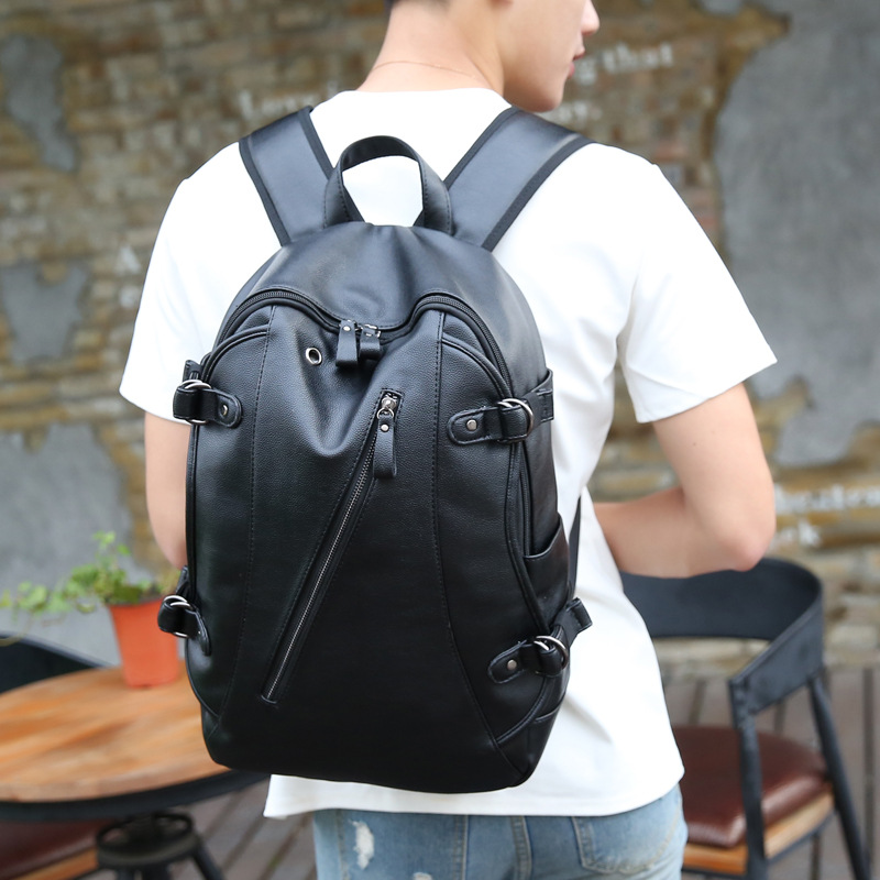 Simple Patchwork Large Capacity Mens Leather Backpack For Travel Casual Men Daypacks Leather Travle Backpack Mochila Waterproof #4