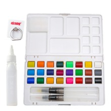 bianyo 24colors portable watercolor paints box with paintbrush solid paint set for outdoor drawing painting art supplies