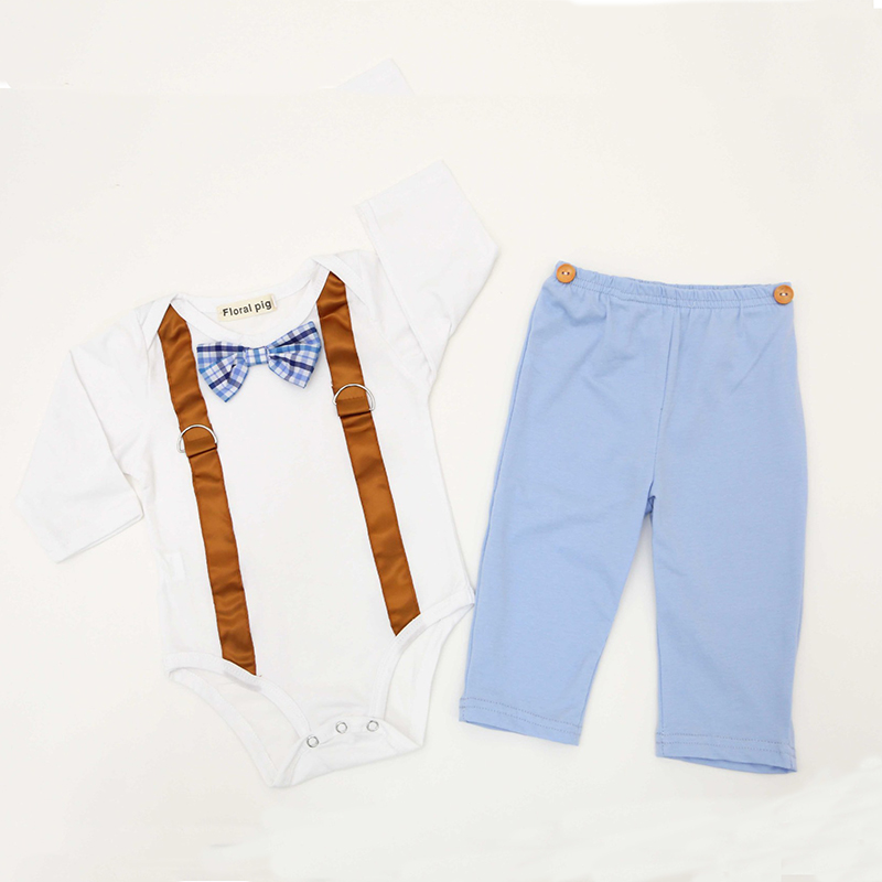 Hot Sale 2018 New Baby Boys Badysuit Bow Tie Gentleman Long sleeved Bodysuit Long Pants Jumpsuit White Baby boy Clothes 2 set