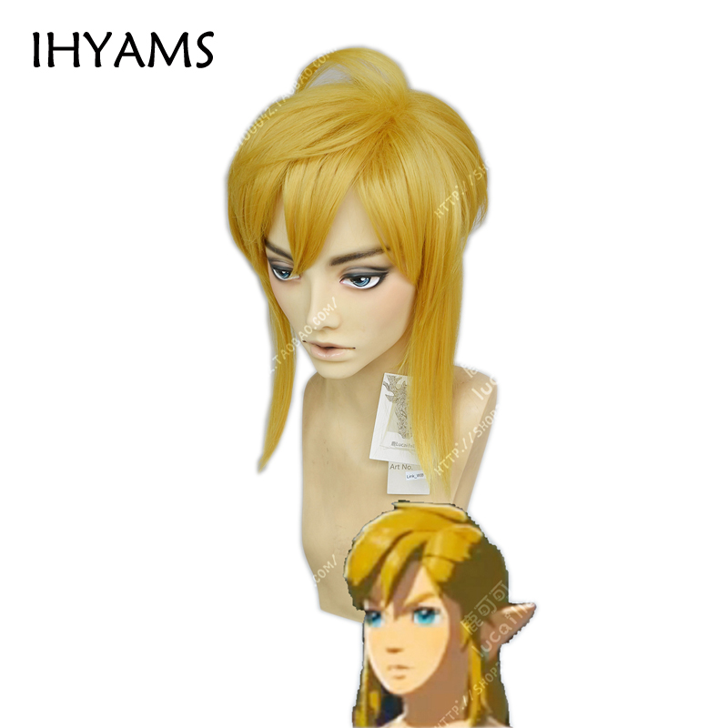 The Legend Of Zelda Breath Of The Wild Link Short Golden Heat Resistant Synthetic Styled Hair Cosplay Wig Wig Cap