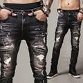 Улица тонкий прямые джинсы отверстие мужчины Локомотив стрейч balmai джинсы мужчины потертые черные брюки страх божий джинсы джинсовые комбинезоны мужчины
