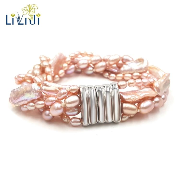 LiiJi Unique véritable rose violet perle d'eau douce riz forme Baroque perle 5 rangées Bracelet pour femmes bijoux de mode