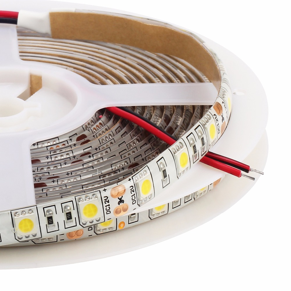Nautral White 4000K LED strip 5050 60LEDs/M 5M/lot DC12V 5050 LED Flexible Strip Light IP20 IP65
