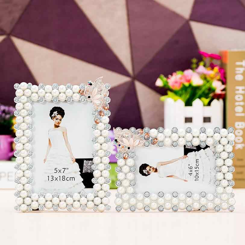 SUFEILE креативные ювелирные изделия из жемчуга белого рамка из смолы для картины стекло высокой четкости 8 дюймов фото рамка для фотографий с жемчугом и стразами свадебные фото рамки D50