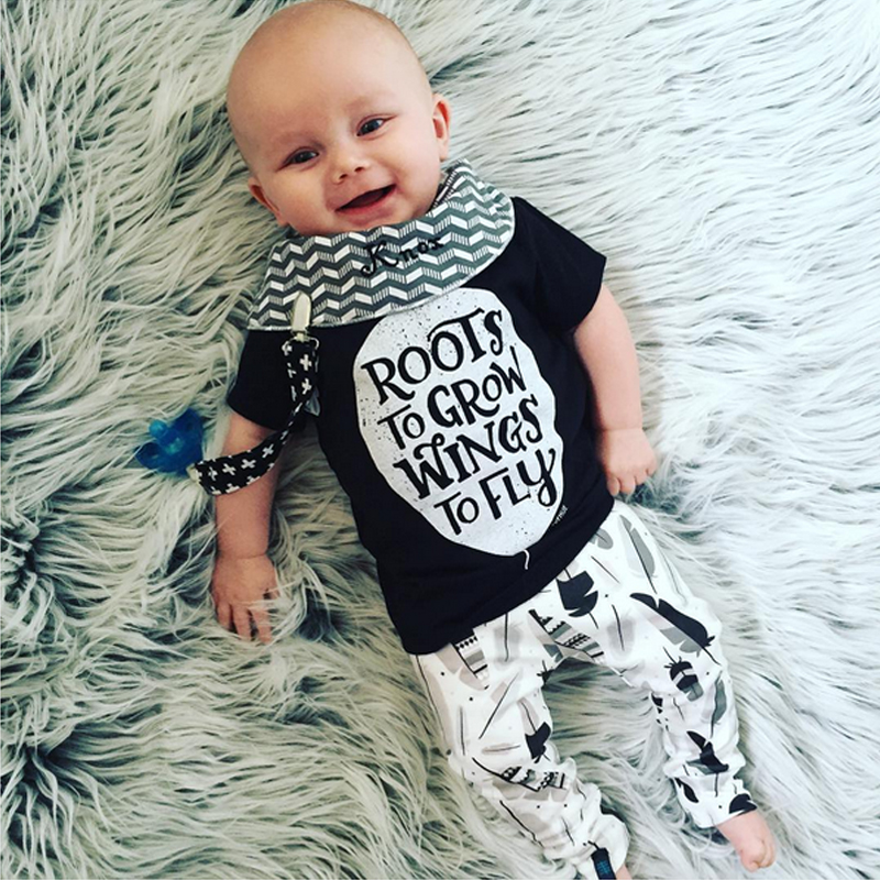 2019 Summer Short Sleeve Baby Boy Clothes Cotton T Shirts+pants Kids Clothing Sets For Newborns Letter Infant Suit Baby Clothing