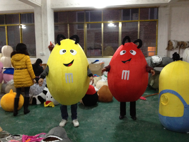 Chocolate M beans Mascot Adult Size Fancy Dress Funny Red and Yellow Mascot Costume Cartoon Appearl Halloween Birthday Cosplay