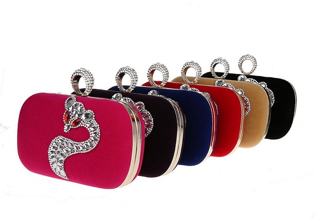 New High-Grade Luxurious Rhinestone Animal Pattern Clutch Bag Banquet Shoulder Bag Sexy Rave Hasp Diamond Ring Party Bag