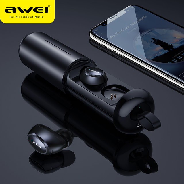 AWEI T5 TWS Bluetooth Earphone Headphones With Microphone Mini True Wireless Earbuds Bluetooth 5.0 Headset Handsfree Charge Case