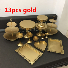 hot deal buy gold white wedding cake stand set 13 pieces cupcake stand barware decorating cooking cake tools bakeware set party dinnerware
