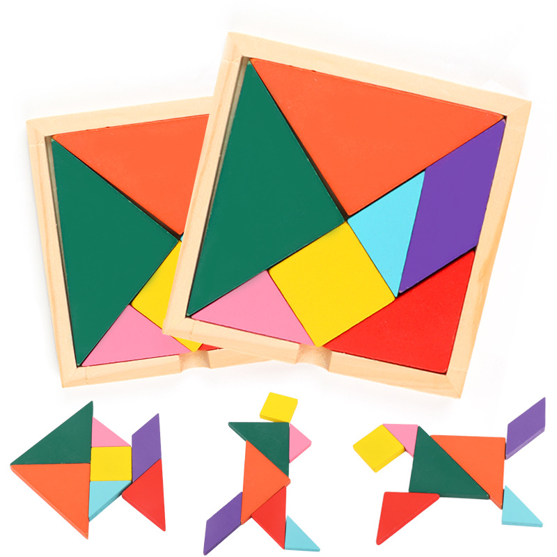 Montessori Educational Wooden Toys For Children Early Learning Puzzles Kids Exercise Intelligence Match Tangram Board Math Toys