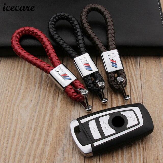 Weave Leather Metal    M Emblem For Bmw Keychain Key Ring For Bmw E46 E90  F31 F10 F30 F20 5 Series X4 X5 X6 E30 G30 Car Keychain b4689eab8938