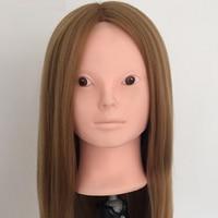 Cammitever pelo rubio plástico maniquí peluquería cabello largo maniquí peluca titular paspop cabeza maniquí