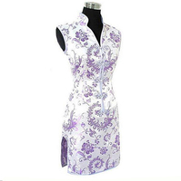 Light Purple Chineses Women S Dress V Neck Mini Qipao Short Silk Cheongsam Top S M