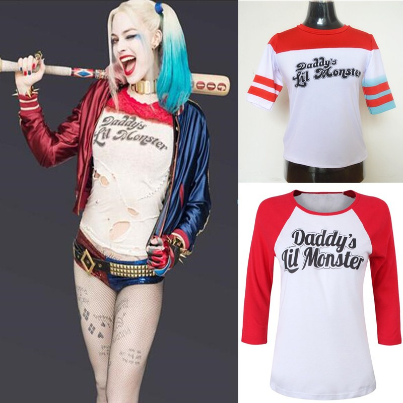 1cefde8c3 Suicide Squad Harley Quinn Costume Daddy's Lil Monster T-Shirt Halloween  Cosplay Carnival Purim Masquerade Nightclub party dress