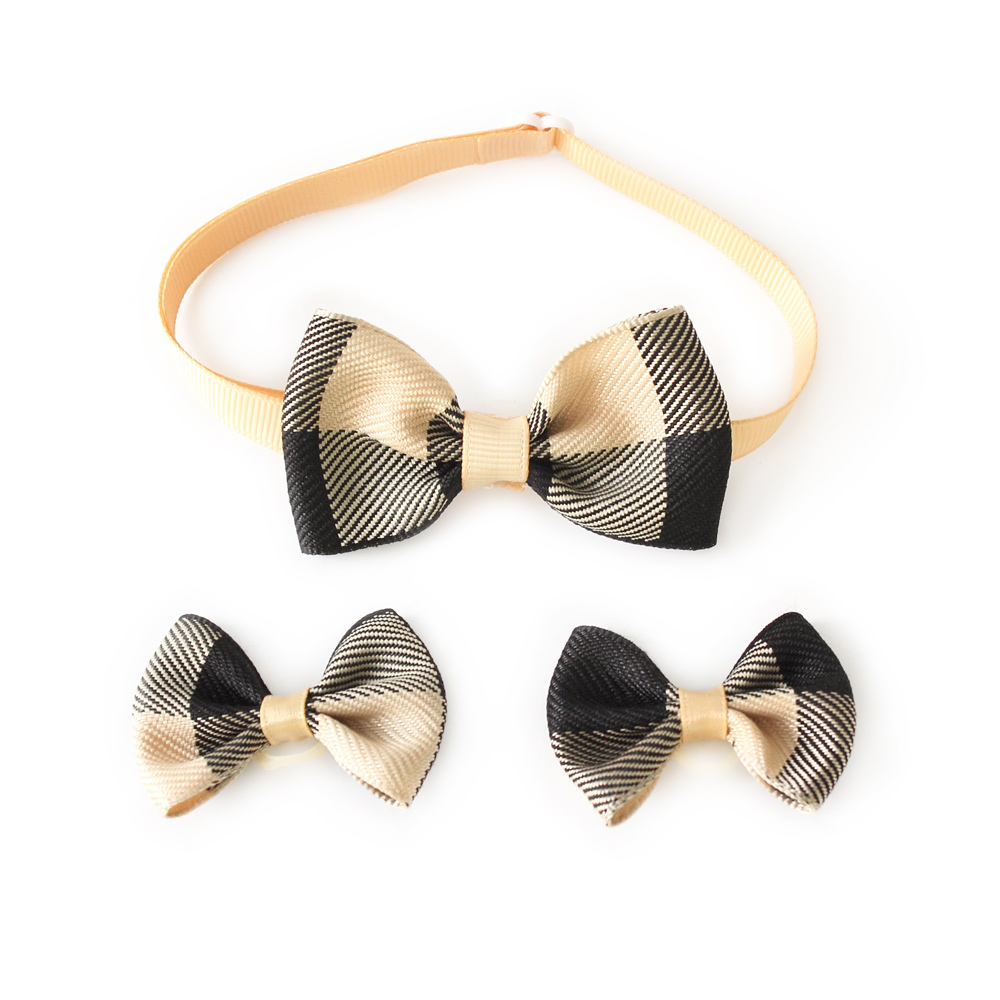 Handmade Dog Bow Tie Retro Plaid Dog Grooming Hair Bow 6020006 font b Pet b font