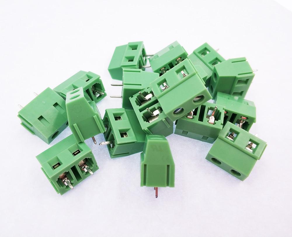 100 × Carte De Circuit Imprimé à vis Bornier 2 Pole 5 mm Pin Pitch 22-12AWG pour fil 300 V 10 A