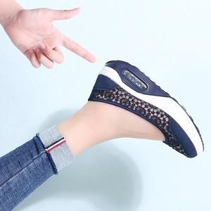 Image 3 - STQ 2020 Summer Women Flat Platform Shoes Women Breathable Casual Sneakers Shoes Slip On Platform Walking Shoes For Women 1618