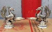 0 бронза покрытием серебра повезло символ Пара Феникс статуя масляная лампа статуя