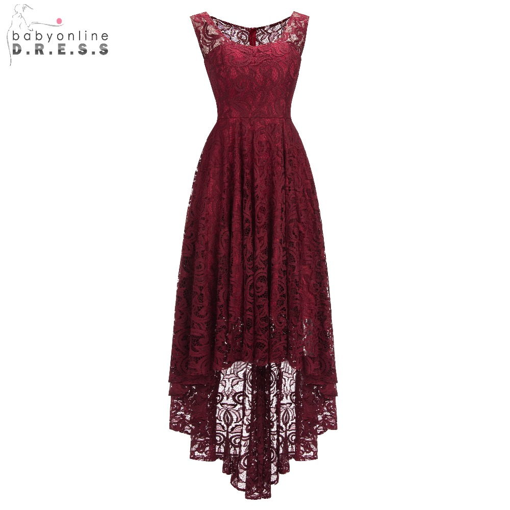 New Arrival Burgundy Plus Size High Low Lace Evening Dress Elegant O Neck Sleeveless Long Evening Gown Vestido De Festa Longo(China)