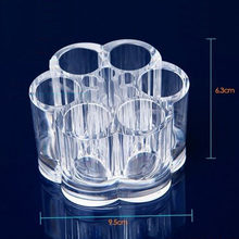 Display Bottle Clear Acrylic 12 Individual Round Compartments Showing Shelf Nail Polish Cosmetic Lipstick Storage Stand Rack(China)