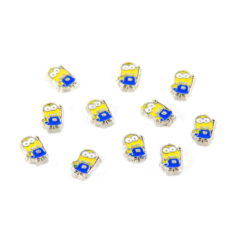 20pcs/lot floating charms lovely cartoon minions Floatng charm with hat for floating Glass locket Jewelry MFC2348