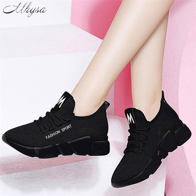 Mhysa 2019 Spring New Women casual shoes fashion breathable lightweight Walking mesh lace up flat shoes sneakers women T71