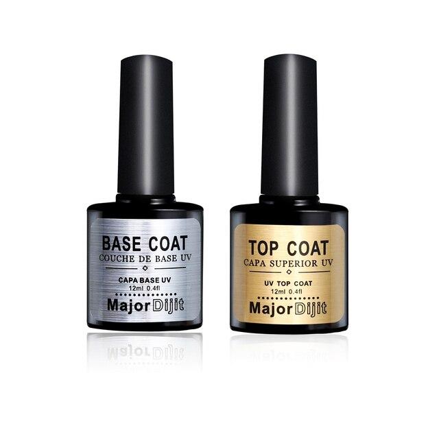 12ML New Nail Gel Polish Soak Off UV Top Coat + Base Coat Gel Polish ...