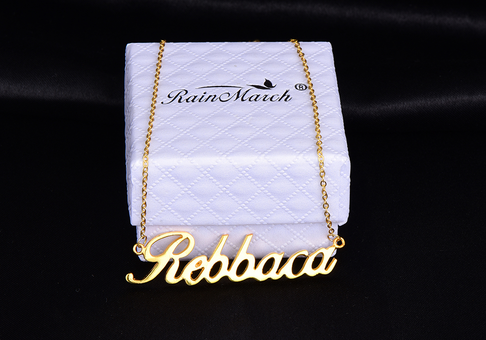RainMarch Stainless Steel Customiz Name Necklace Women Personalized Custom Necklaces Gold Silver Color Pendant Chock Necklace (1)