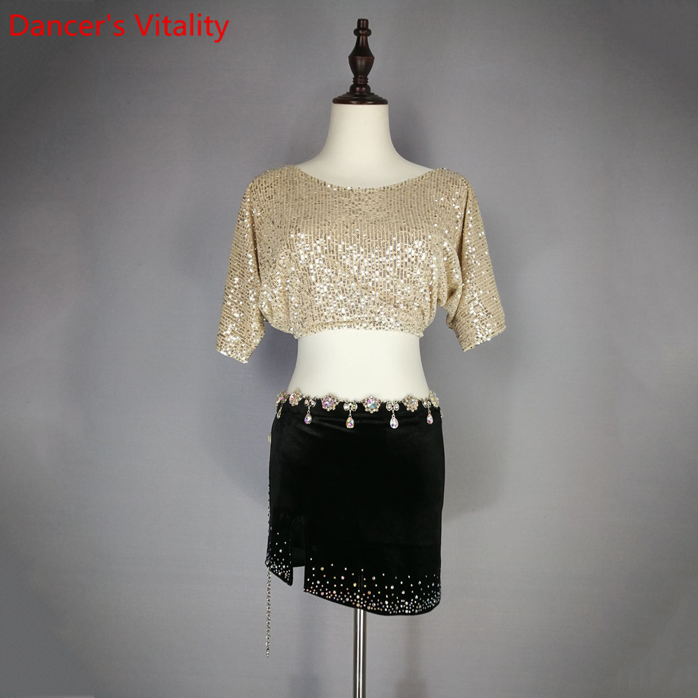 Women Belly Dance Practice Short Sleeves Sequin Top Skirt 2pcs Set Oriental Indian Dance Wear Performance Outfits Garments