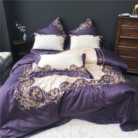Luxury Egypt Cotton Purple elegance Bedding Set Embroidery Silky Duvet cover Bed Sheet Pillowcases Queen King Size 4Pcs