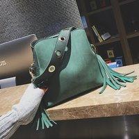 2018 Brand Tassel Shoulder Bag Female Vintage Crossbody Bags For Women Bucket Bag Handbags Designer Scrub Daily Sac
