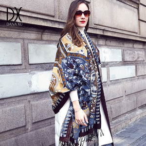 Image 1 - New Winter Scarf for Women Luxury Brand Pashmina Cashmere Poncho Blanket Scarf Wrap Wool Scarf Women Bandana Muslim Hijab Shawl