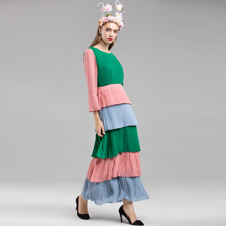 Patchwrok Aeleseen Designer Femmes Élégant Cascade Plissée Robe Couleur De Mode Contraste 2018 Piste Ruches Automne 8n0PNOkwX