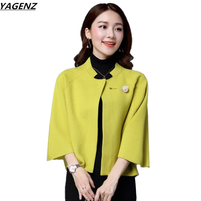 Female Knitted Cardigan 2017Autumn Short Sweater Women Solid Color Seven Sleeves Shawl Sweater Coat Female Casual Tops YAGENZ360