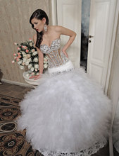 2017 Fashion Sexy See Through Ivory Crystal Feather Lace Ball Gown Wedding Dresses Organza JC-61
