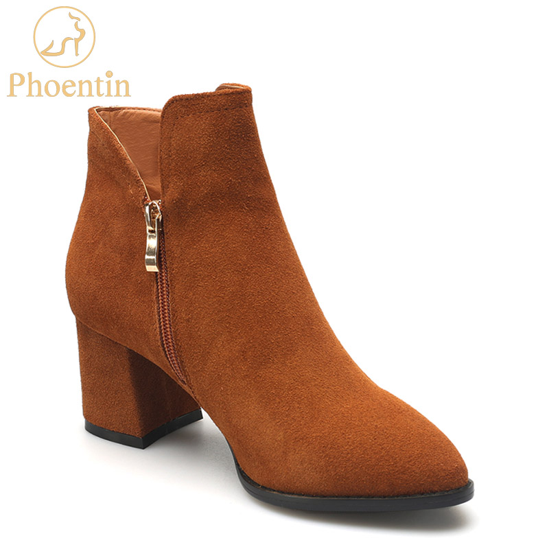Phoentin cow suede high heels boots women pointed toe zipper ankle boots black square heel high quality woman casual shoes FT272 enmayla fashion front zipper ankle boots women chucky heels square toe high heels shoes woman black yellow suede autumn boots