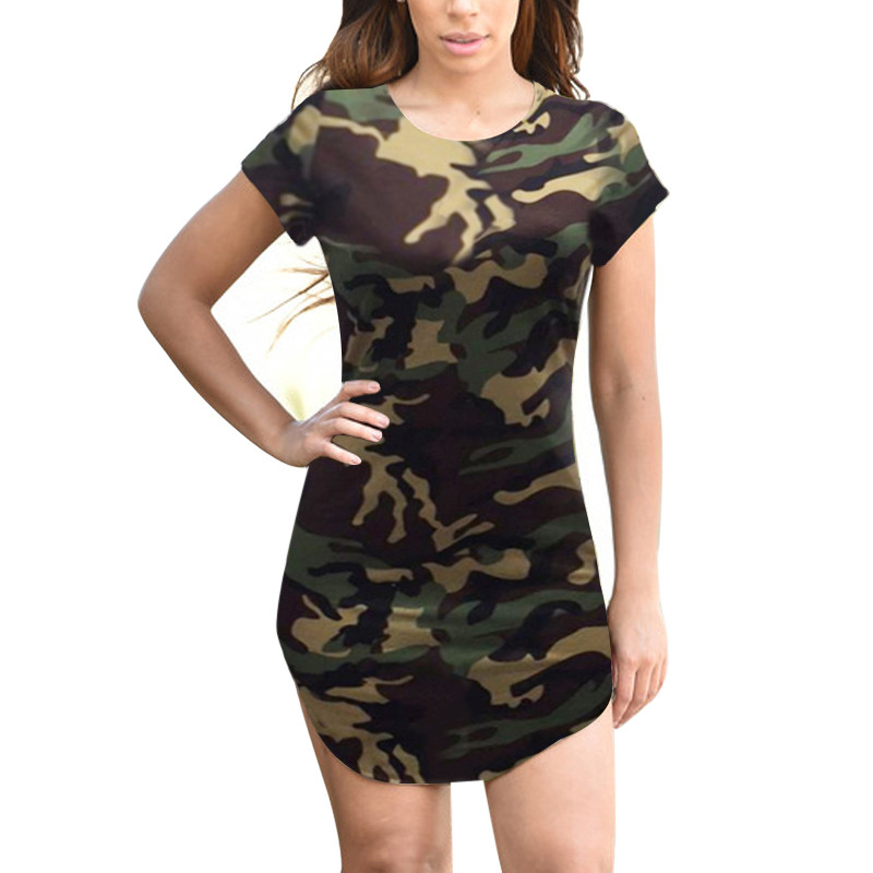 3b8cb428d6537 Army Military Womens T Shirt Dress 2018 Summer Retro Camouflage Bodycon  Cotton Dresses Hot Sexy Ladies Mini Dress Vintage Robes