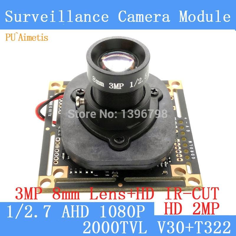 PU'Aimetis 2.0MP 1920*1080 AHD 4in1 1080 P surveillance Caméra Module, 1/2.7 V30 + T322 3MP 8mm Objectif CCTV caméra ODS/BNC Câble