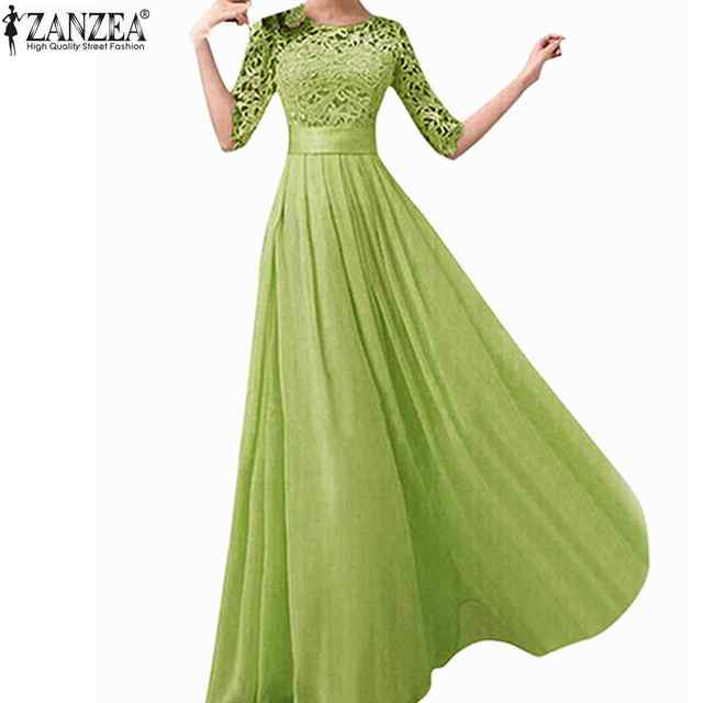 ZANZEA 2017 New Summer Women Sexy Vestido De Festa Vintage Elegant Party Long Dresses Robe Femme Plus Size 5XL Lace Maxi Dres