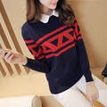 2016 New Arrival Women Sweaters Fashion Fake Two Piece Shirt Collar Slim Pullovers All Match Bottoming Tops Outerwear Femininas