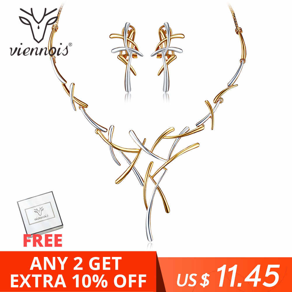 Viennois Necklace Earrings Dubai Jewelry Sets For Wedding Dress, Bridesmaids, Brides, Party or Prom Rose Gold & Gun Color 2019