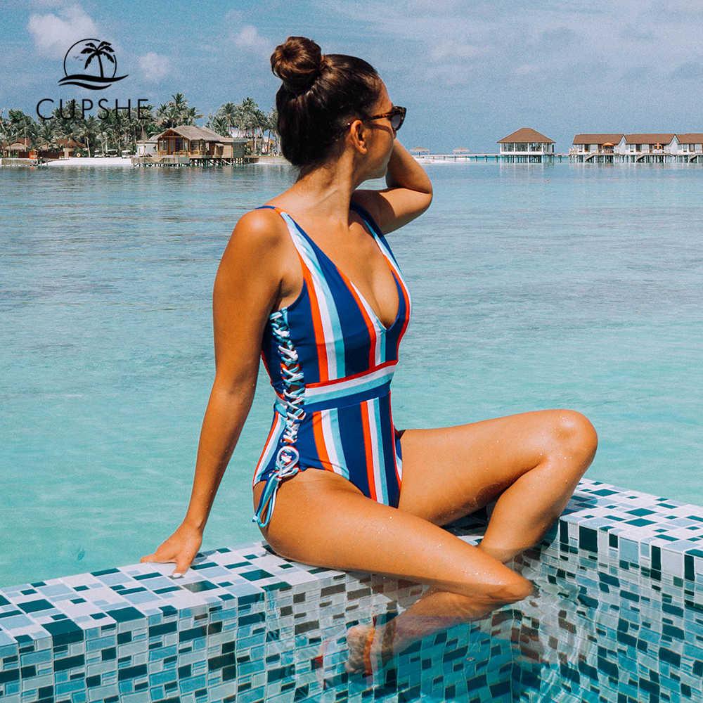 Cupshe à lacets rayé une pièce maillot de bain femmes mince col en v Sexy body maillots de bain 2020 nouvelle fille plage maillot de bain Monokinis