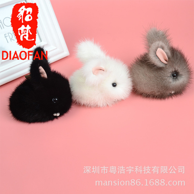 The new rabbit bunny rabbit hair bag pendant pendant super adorable Plush real fur Car Keychain