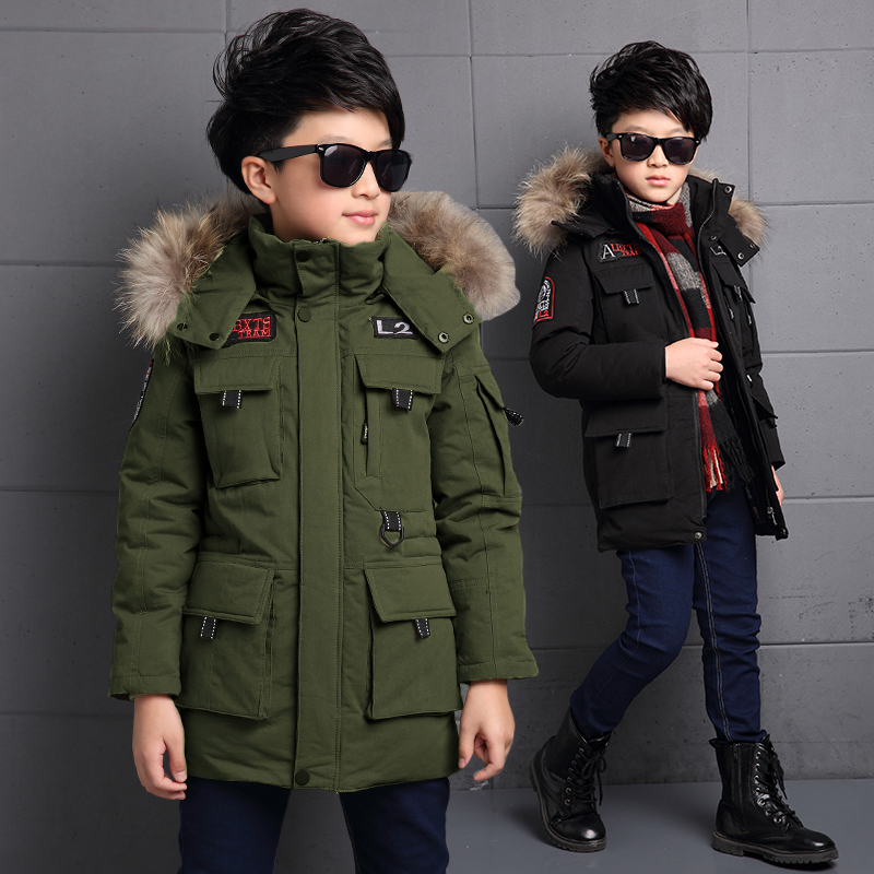 5-14Y Children's Down Jacket Long Thick Boy Winter Coat Duck Down Kids Winter Jackets for Boy Outerwear Fur Collar down jacket 81 85% duck feather long term winter jacket for girl boys big fur collar winter coat children down outerwear