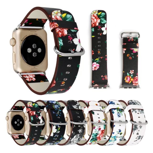 National Floral Printed Leather Watch Band Strap for Apple Watch band Leather Bracelet for iwatch 1&2&3 faux leather strap floral face watch